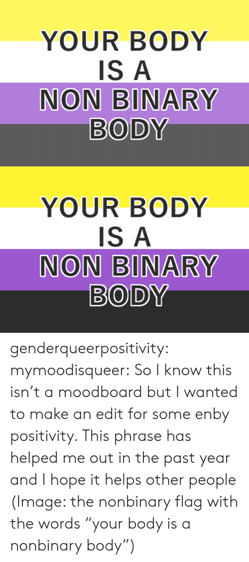 "Target, Tumblr, and Blog: YOUR BODY  IS A  NON BINARY  BODY   YOUR BODY  IS A  NON BINARY  BODY genderqueerpositivity:  mymoodisqueer:  So I know this isn't a moodboard but I wanted to make an edit for some enby positivity. This phrase has helped me out in the past year and I hope it helps other people  (Image: the nonbinary flag with the words ""your body is a nonbinary body"")"