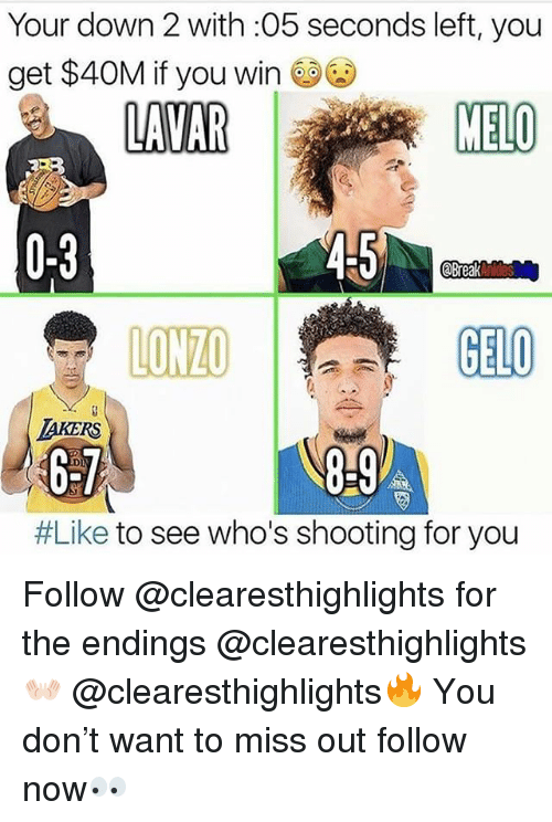 Memes, 🤖, and Down: Your down 2 with :05 seconds left, you  get $40M if you win e94)  0-3  LON如  GELO  TAKERS  6-7  #Like to see who's shooting for you Follow @clearesthighlights for the endings @clearesthighlights👐🏻 @clearesthighlights🔥 You don't want to miss out follow now👀