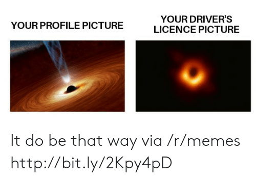 Memes, Http, and Via: YOUR DRIVER'S  LICENCE PICTURE  YOUR PROFILE PICTURE It do be that way via /r/memes http://bit.ly/2Kpy4pD