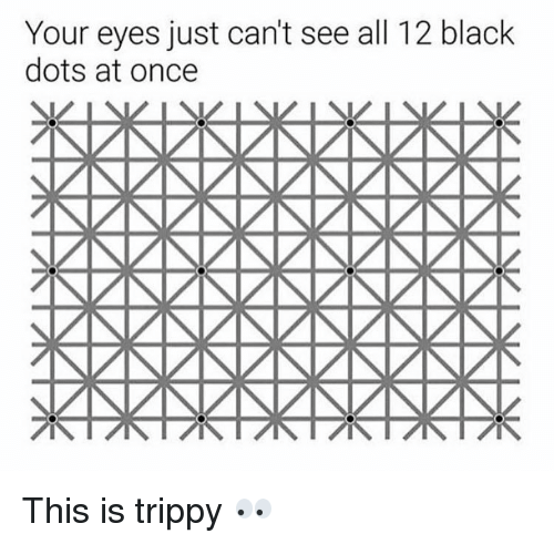 Trippiness: Your eyes just can't see all 12 black  dots at once This is trippy 👀