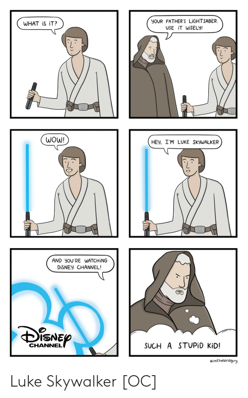 Disney Channel: YOUR FATHER'S LİGHTSABER  USE İTWİSELY!  WHAT iS iT?  WOW!  HEV, I'M LUKE SKyWALKER  AND YOU'RE WATCHİNG  DİSNEY CHANNEL!  ISNE  CHANNEL  SUCH A STUPİD KiD!  eimthebirdgvy Luke Skywalker [OC]