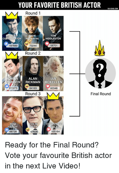 Dank, Toms, and British: YOUR FAVORITE BRITISH ACTOR  VIA9GAG.COM  M A M Round 1  ENE  DDIE  TO  El  TCH  MAYNE  HIDDLESTON  187880  58701  73244  NAM Round 2  ALAN  IAN  SON RICKMAN  MCKELLEN  311073  84163  60348  Final Round  Round 3  M AM  TOM  COLIN  CHRISTIAN  HARDY  ALE  105164  88728  47628 Ready for the Final Round? Vote your favourite British actor in the next Live Video!