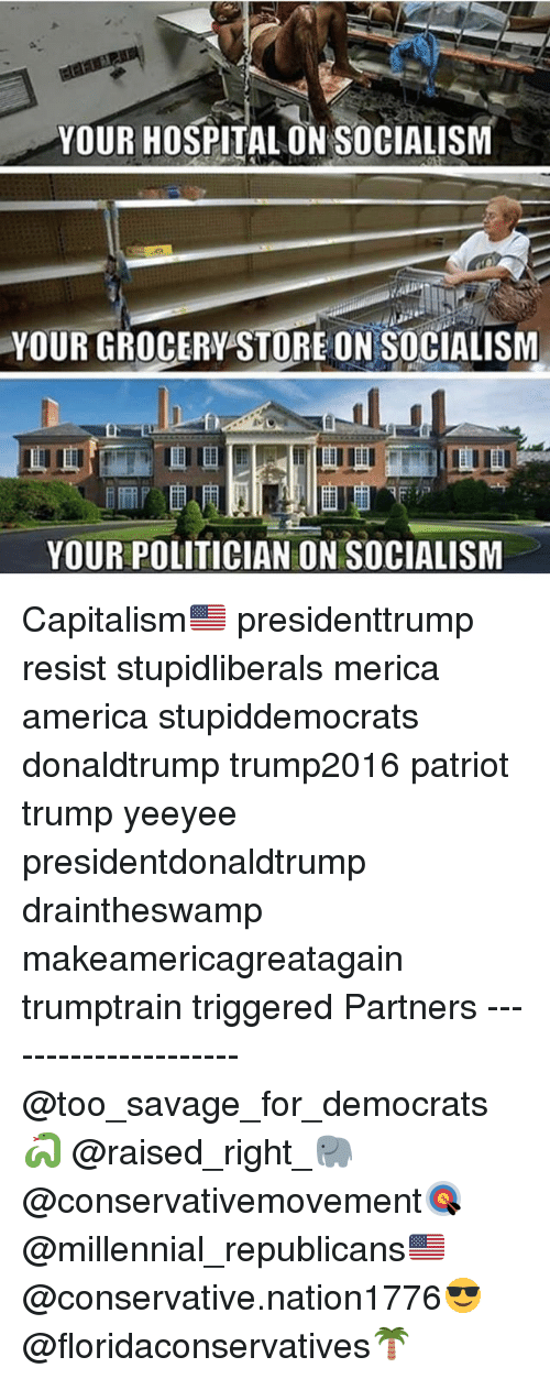 America, Memes, and Savage: YOUR HOSPITAL ON SOCIALISM  YOUR GROCERY STORE ON SOCIALISM  b)  YOUR POLITICIAN ON SOCIALISM Capitalism🇺🇸 presidenttrump resist stupidliberals merica america stupiddemocrats donaldtrump trump2016 patriot trump yeeyee presidentdonaldtrump draintheswamp makeamericagreatagain trumptrain triggered Partners --------------------- @too_savage_for_democrats🐍 @raised_right_🐘 @conservativemovement🎯 @millennial_republicans🇺🇸 @conservative.nation1776😎 @floridaconservatives🌴
