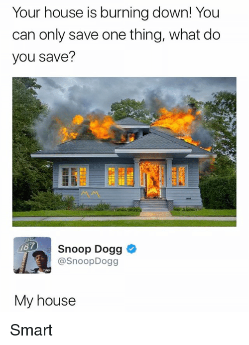 Snooping: Your house is burning down! You  can only save one thing, what do  you save?  Snoop Dogg *  @SnoopDogg  87  My house Smart