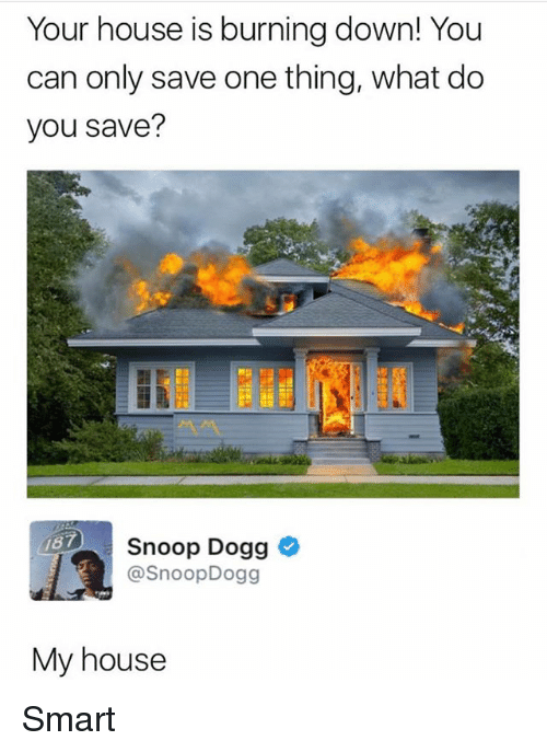 Snooping: Your house is burning down! You  can only save one thing, what do  you save?  187  Snoop Dogg  @SnoopDogg  My house Smart