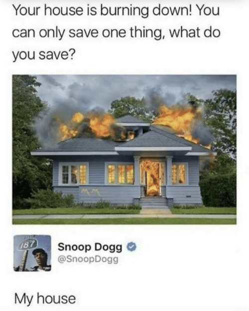 My House, Snoop, and Snoop Dogg: Your house is burning down! You  can only save one thing, what do  you save?  187  Snoop Dogg  @SnoopDogg  My house