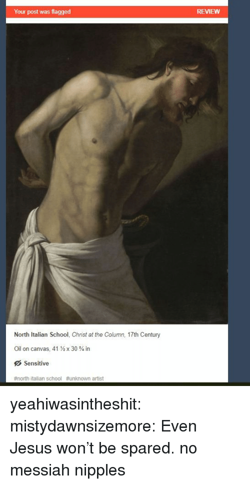 messiah: Your post was flagged  REVIEWW  North Italian School, Christ at the Column, 17th Century  Oil on canvas, 41  x 30 % in  Sensitive  #north italian school #unknown artist yeahiwasintheshit:  mistydawnsizemore: Even Jesus won't be spared.  no messiah nipples