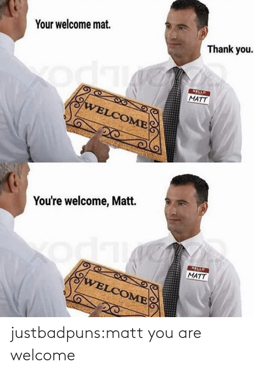 Hello, Target, and Tumblr: Your welcome mat.  Thank you.  HELLO  MATT  WELCOME  You're welcome, Matt.  HELLO  MATT  odk  WELCOME justbadpuns:matt you are welcome