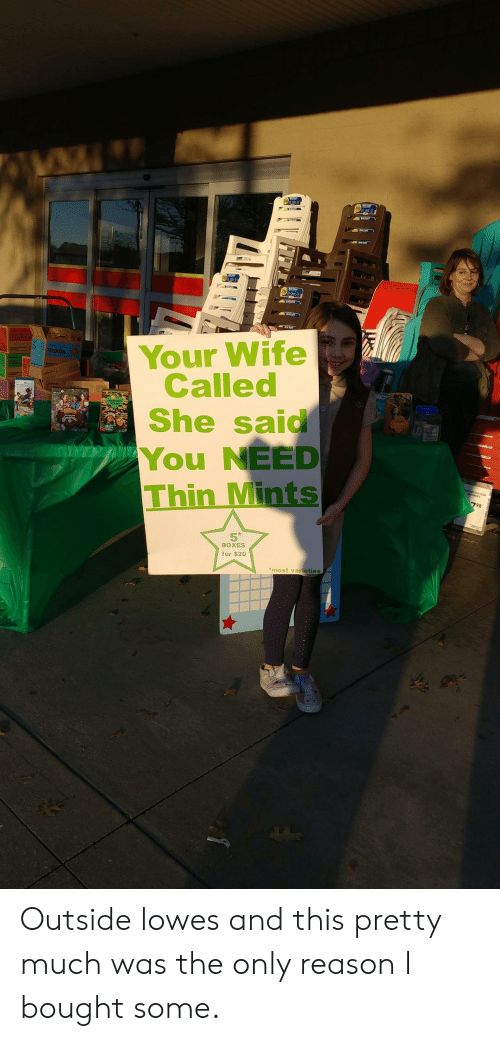 Thin Mints: Your Wife  Called  She said  You NEED  Thin Mints  98  5  BOXES  for $20  most varieties Outside lowes and this pretty much was the only reason I bought some.
