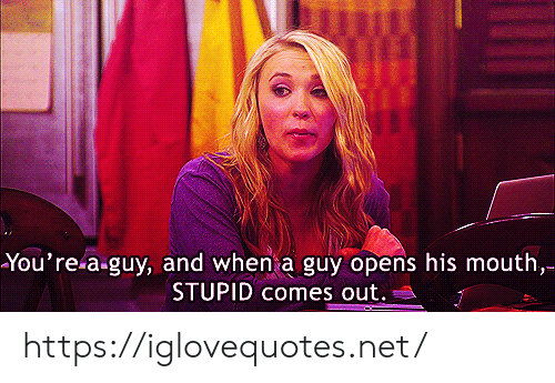 Net, Href, and Youre: You're a-guy, and when a guy opens his mouth,  STUPID comes out. https://iglovequotes.net/
