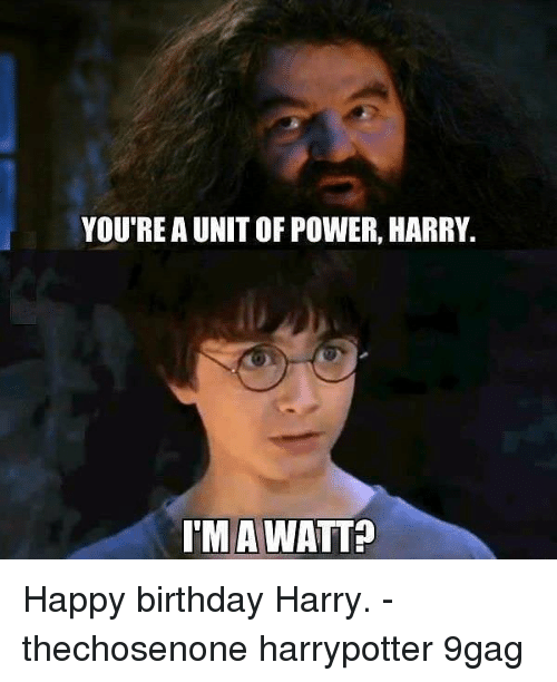 9gag, Birthday, and Memes: YOU'RE A UNIT OF POWER, HARRY.  TM A WATTA Happy birthday Harry. - thechosenone harrypotter 9gag