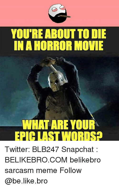 Be Like, Meme, and Memes: YOU'RE ABOUT TO DIE  IN A HORROR MOVIE  WHAT ARE YOUR  EPICLAST WORDS Twitter: BLB247 Snapchat : BELIKEBRO.COM belikebro sarcasm meme Follow @be.like.bro