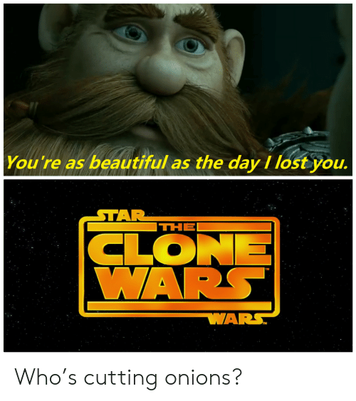 Clone: You're as beautiful as the day I lost you.  STAR  THE  CLONE  WARS  WARS Who's cutting onions?