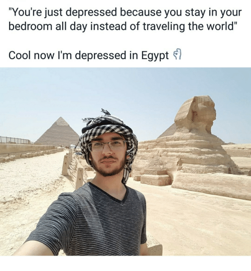 "Cool, World, and Egypt: ""You're just depressed because you stay in your  bedroom all day instead of traveling the world""  Cool now I'm depressed in Egypt"