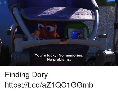 Memes, Finding Dory, and 🤖: You're lucky. No memories  No problems. Finding Dory https://t.co/aZ1QC1GGmb