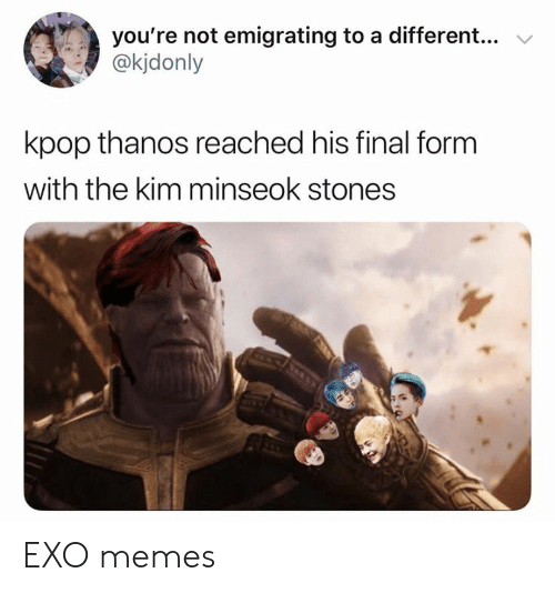 Memes, Thanos, and Exo: you're not emigrating to a different..  @kjdonly  kpop thanos reached his final form  with the kim minseok stones EXO memes