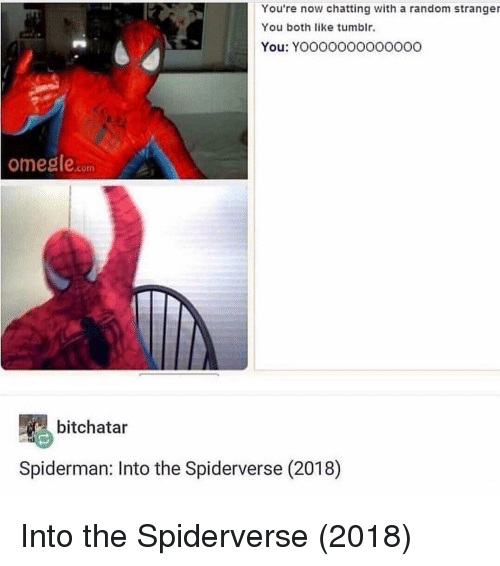 Tumblr, Spiderman, and Random: You're now chatting with a random stranger  You both like tumblr.  You: Yooooo000o000o  ome  gle.com  bitchatar  Spiderman: Into the Spiderverse (2018) Into the Spiderverse (2018)