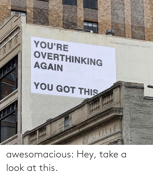 Tumblr, Blog, and Got: YOU'RE  OVERTHINKING  AGAIN  YOU GOT THIS awesomacious:  Hey, take a look at this.
