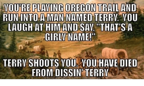 "Oregon Trail, Oregon, and Him: YOU'RE PLAYING OREGON TRAIL AND  MAN NAMEL  RUNINTOA D TERRV. VOU  LAUGH AT HIM AND SAY ""THAT SA  GIRLYNAME!  TERRV SHOOTS VOU NOUHAVE DIED  FROM DISSIN' TERRV"