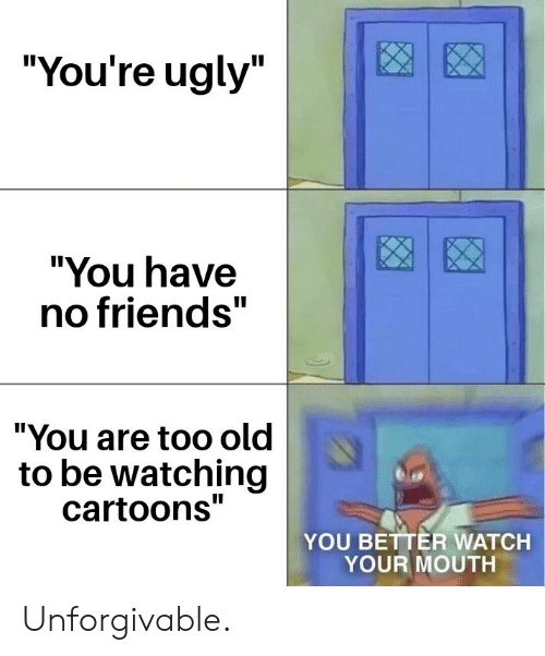 "Friends, Ugly, and Cartoons: ""You're ugly""  ""You have  no friends""  ""You are too old  to be watching  cartoons""  YOU BETTER WATCH  YOUR MOUTH Unforgivable."