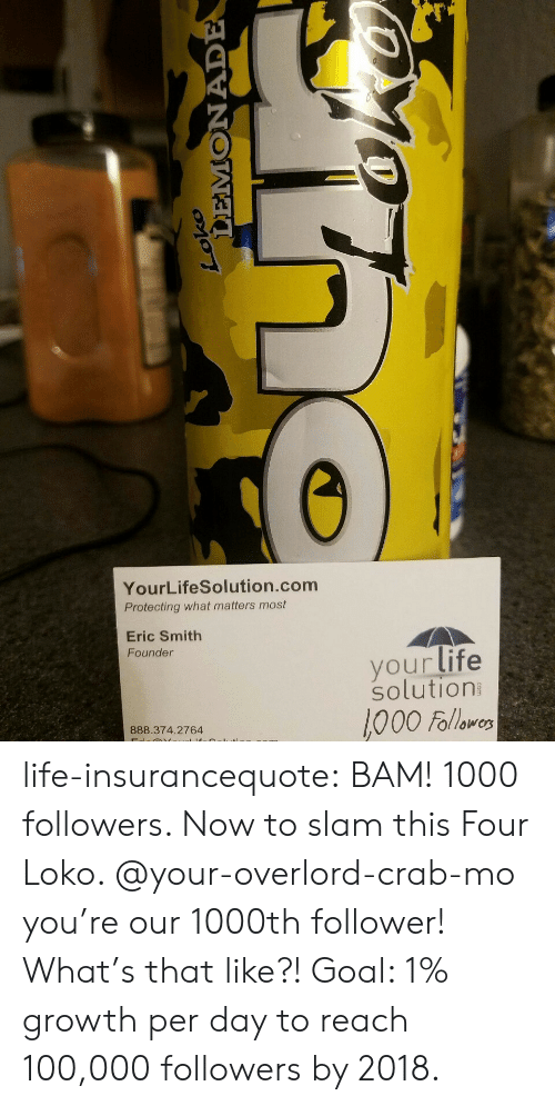 Anaconda, Life, and Tumblr: YourLifeSolution.com  Protecting what matters most  Eric Smith  Founder  yourlife  solution  000 Follawo  888.374.2764 life-insurancequote: BAM! 1000 followers.  Now to slam this Four Loko. @your-overlord-crab-mo you're our 1000th follower!  What's that like?!  Goal:  1% growth per day to reach 100,000 followers by 2018.