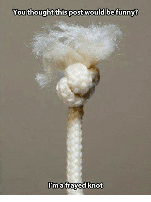 Knotting: Youthought this post would befunny?  ma fraved knot