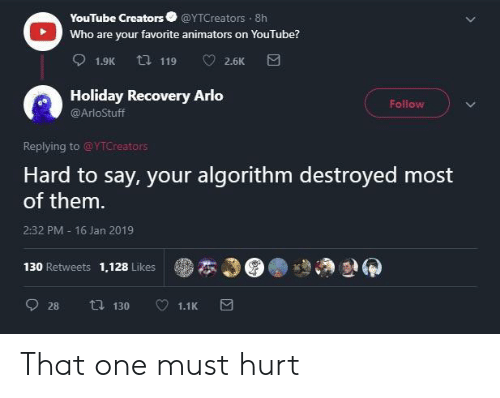 Animators: YouTube Creators @YTCreators 8h  Who are your favorite animators on YouTube?  Holiday Recovery Arlo  @ArloStuff  Follow  Replying to @YTCreators  Hard to say, your algorithm destroyed most  of them  2:32 PM 16 Jan 2019  130 Retweets 1,128 Likes  ●本の  癖 That one must hurt
