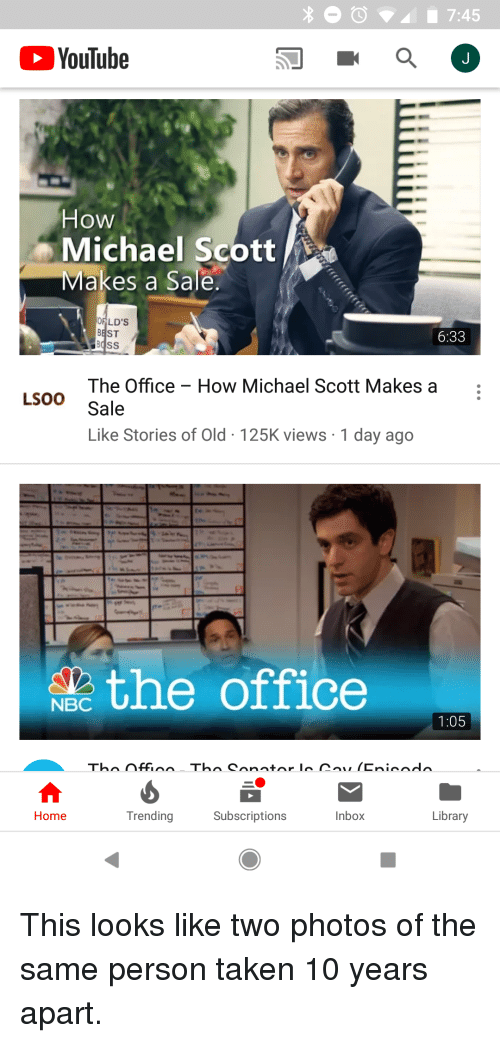 Michael Scott, Taken, and The Office: YouTube  How  Michael Scott  vlakes a Sale  OFLD'S  BEST  6:33  BSS  The Office - How Michael Scott Makes a :  LSOO Sale  Like Stories of Old 125K views 1 day ago  theoffice  NBC  1:05  Trending  Subscriptions  Inbox  Library  Home