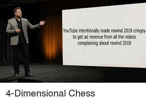 Dimensional Chess: YouTube intentionally made rewind 2018 cringey  to get ad revenue from all the videos  complaining about rewind 2018