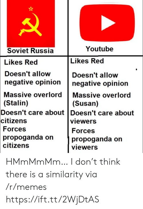 citizens: Youtube  Soviet Russia  Likes Red  Likes Red  Doesn't allow  Doesn't allow  negative opinion  negative opinion  Massive overlord Massive overlord  (Stalin)  Doesn't care about Doesn't care about  citizens  (Susan)  viewers  Forces  Forces  propoganda on  citizens  propoganda on  viewers HMmMmMm… I don't think there is a similarity via /r/memes https://ift.tt/2WjDtAS