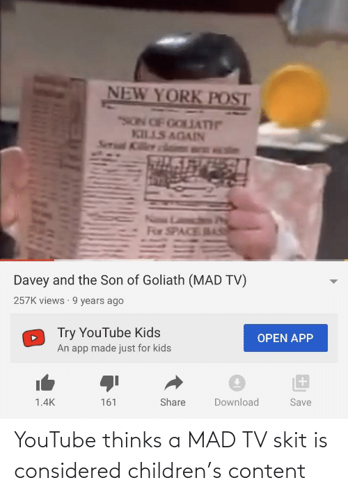 Children: YouTube thinks a MAD TV skit is considered children's content