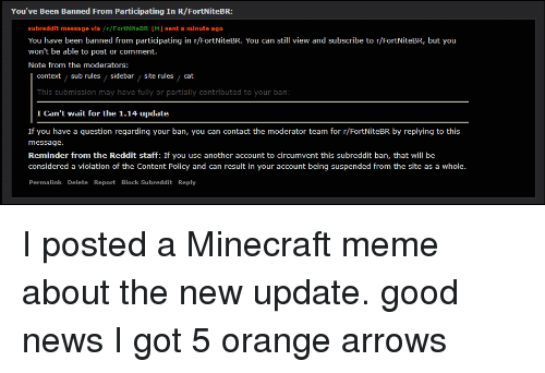 meme minecraft and news you ve been banned from participating in r - fortnitebr reddit rules