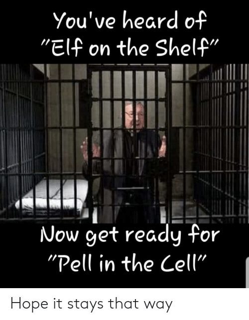 """Elf, Elf on the Shelf, and Funny: You've heard of  """"Elf on the Shelf""""  Now get ready for  """"Pell in the Cell"""" Hope it stays that way"""