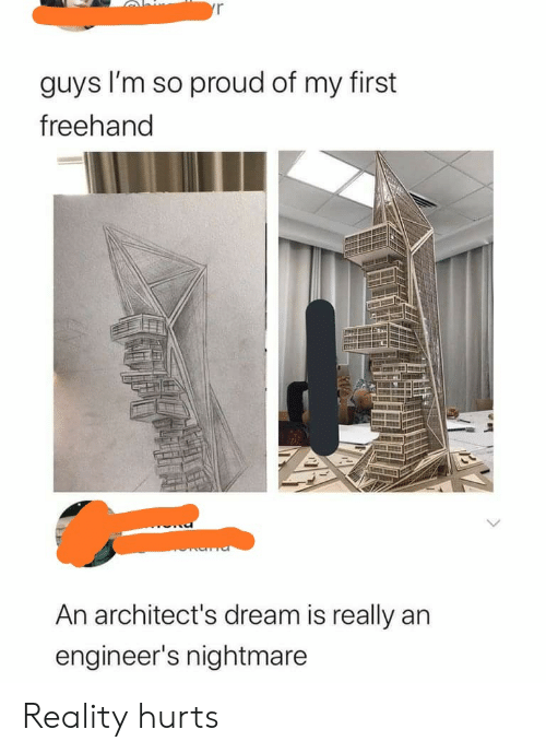 nightmare: yr  guys I'm so proud of my first  freehand  An architect's dream is really an  engineer's nightmare Reality hurts