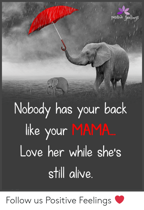 Alive, Love, and Memes: ysthve feeligs  Nobody has your back  MAMA  like your  Love her while she's  still alive. Follow us Positive Feelings ❤