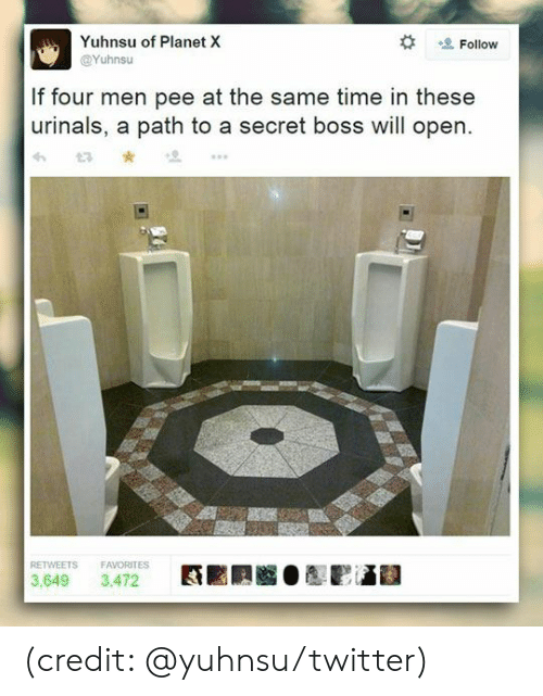 Dank, Twitter, and Time: Yuhnsu of Planet X  Follow  @Yuhnsu  If four men pee at the same time in these  urinals, a path to a secret boss will open  RETWEETS  FAVORITES  3,472  3,649 (credit: @yuhnsu/twitter)