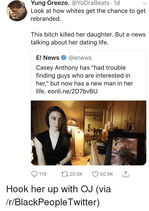 "Bitch, Blackpeopletwitter, and Dating: Yung Greezo. @YoDraBeats 1d  Look at how whites get the chance to get  rebranded  This bitch killed her daughter. But e news  talking about her dating life  E! News @enews  Casey Anthony has ""had trouble  finding guys who are interested in  her,"" but now has a new man in her  life. eonli.ne/2D7bvBU  119 20.5 50.5K Hook her up with OJ (via /r/BlackPeopleTwitter)"