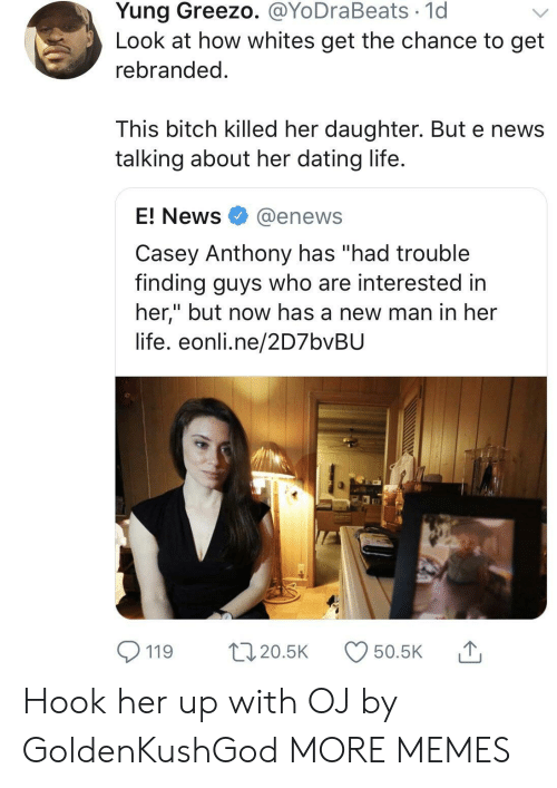 """Enews: Yung Greezo. @YoDraBeats 1d  Look at how whites get the chance to get  rebranded  This bitch killed her daughter. But e news  talking about her dating life  E! News @enews  Casey Anthony has """"had trouble  finding guys who are interested in  her,"""" but now has a new man in her  life. eonli.ne/2D7bvBU  119 20.5 50.5K Hook her up with OJ by GoldenKushGod MORE MEMES"""