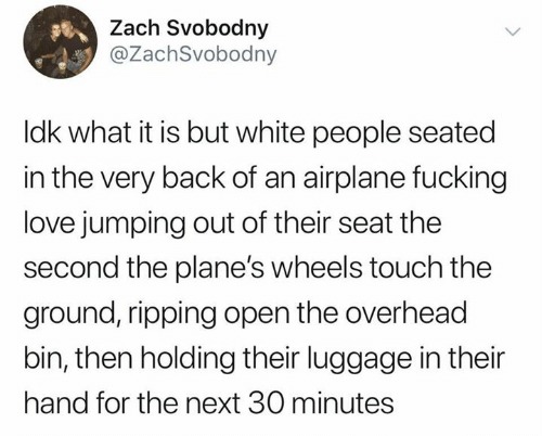 Airplane: Zach Svobodny  @ZachSvobodny  Idk what it is but white people seated  in the very back of an airplane fucking  love jumping out of their seat the  second the plane's wheels touch the  ground, ripping open the overhead  bin, then holding their luggage in their  hand for the next 30 minutes