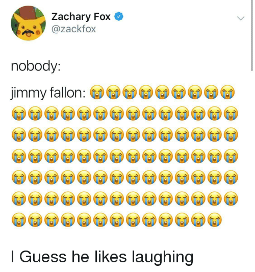 Jimmy Fallon, Guess, and Fox: Zachary Fox  ackfox  nobody:  jimmy fallon I Guess he likes laughing