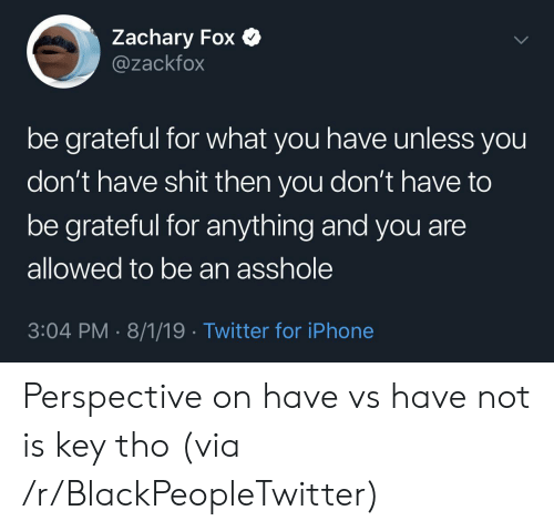 Blackpeopletwitter, Iphone, and Shit: Zachary Fox  @zackfox  be grateful for what you have unless you  don't have shit then you don't have to  be grateful for anything and you are  allowed to be an asshole  3:04 PM 8/1/19 Twitter for iPhone Perspective on have vs have not is key tho (via /r/BlackPeopleTwitter)