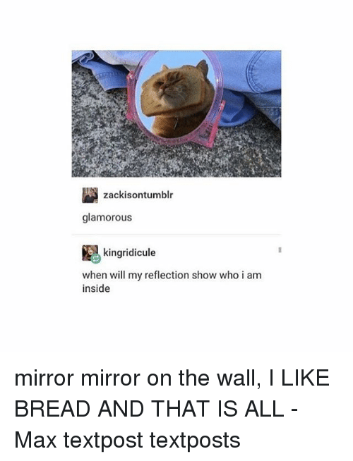 glamorous: zackisontumblr  glamorous  kingridicule  when will my reflection show who i am  inside mirror mirror on the wall, I LIKE BREAD AND THAT IS ALL - Max textpost textposts