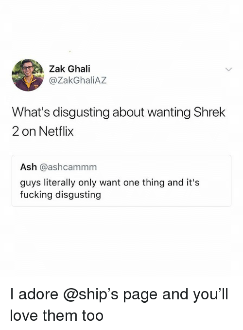 Ash, Fucking, and Love: Zak Ghali  @ZakGhaliAZ  What's disgusting about wanting Shrek  2 on Netflix  Ash @ashcammm  guys literally only want one thing and it's  fucking disgusting I adore @ship's page and you'll love them too