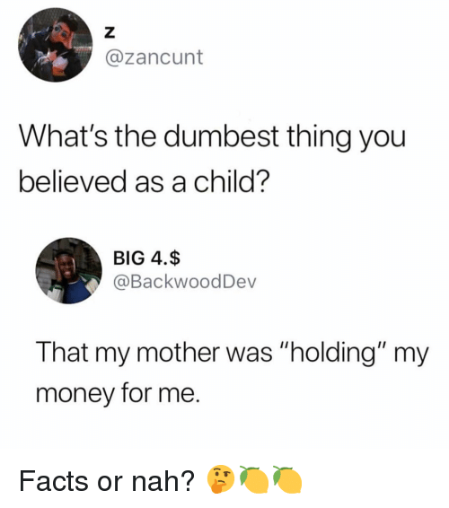 "Facts, Money, and Dank Memes: @zancunt  What's the dumbest thing you  believed as a child?  BIG 4.$  @BackwoodDev  That my mother was ""holding"" my  money for me. Facts or nah? 🤔🍋🍋"