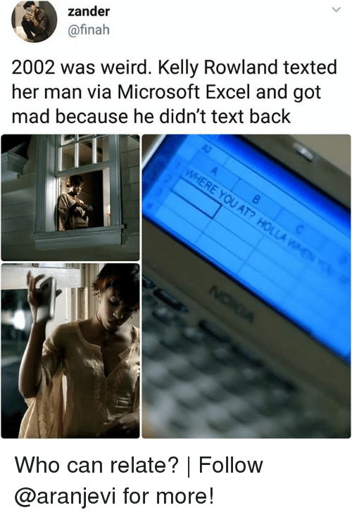Memes, Microsoft, and Microsoft Excel: zander  @finah  2002 was weird. Kelly Rowland texted  her man via Microsoft Excel and got  mad because he didn't text back  RE YOU  AT Who can relate? | Follow @aranjevi for more!