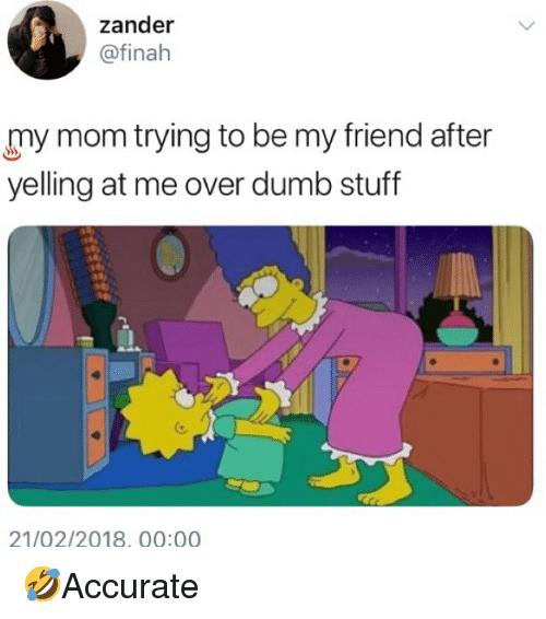 Dumb, Memes, and Stuff: zander  @finah  my mom trying to be my friend after  yelling at me over dumb stuff  21/02/2018, 00:00 🤣Accurate