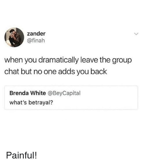 Group Chat, Memes, and Chat: zander  @finah  when you dramatically leave the group  chat but no one adds you back  Brenda White @BeyCapital  what's betrayal? Painful!