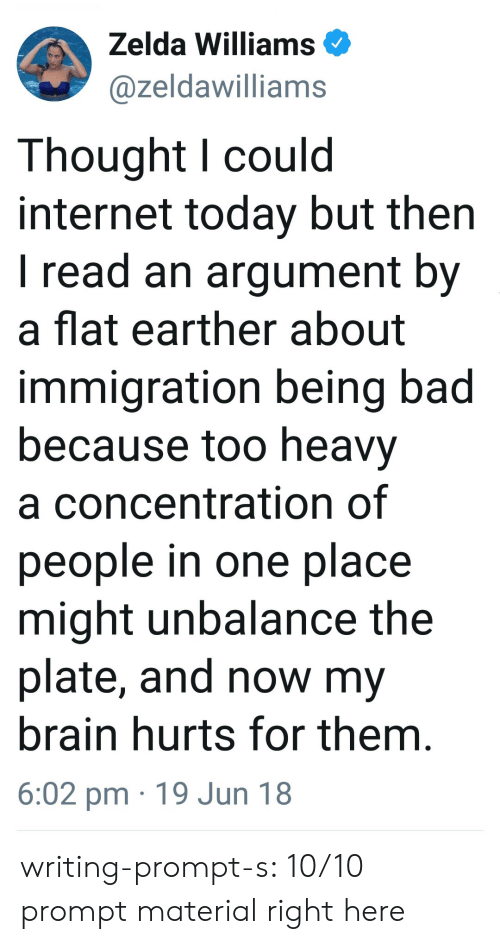 Bad, Internet, and Tumblr: Zelda Williams  @zeldawilliams  Thought l could  internet today but then  I read an argument by  a flat earther about  immigration being bad  because too heavy  a concentration of  people in one place  might unbalance the  plate, and now my  brain hurts for them  6:02 pm 19 Jun 18 writing-prompt-s:  10/10 prompt material right here