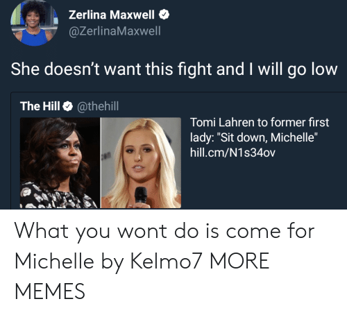 "Michellee: Zerlina Maxwell  @ZerlinaMaxwell  She doesn't want this fight and I will go low  The Hill @thehill  Tomi Lahren to former first  lady: ""Sit down, Michelle""  hill.cm/N1s34ov What you wont do is come for Michelle by Kelmo7 MORE MEMES"