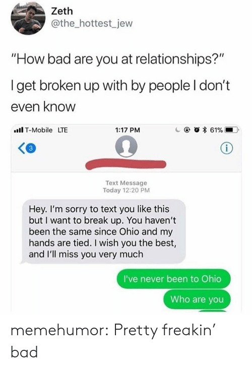 "Bad, Relationships, and Sorry: Zeth  @the_hottest_jew  ""How bad are you at relationships?""  Iget broken up with by people I don't  even know  ll T-Mobile LTE  1:17 PM  c  @  * 61%.-D.  Text Message  Today 12:20 PM  Hey. I'm sorry to text you like this  but I want to break up. You haven't  been the same since Ohio and my  hands are tied. I wish you the best,  and I'll miss you very much  I've never been to Ohio  Who are you memehumor:  Pretty freakin' bad"